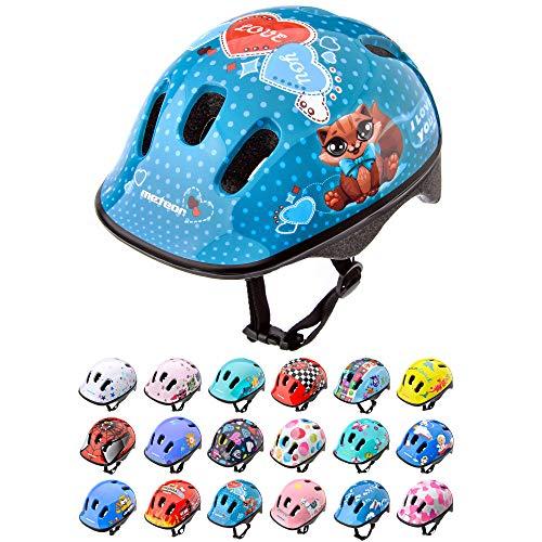Meteor Casco Bici Ideale per Bambini Caschi Perfetto per Downhill Enduro Ciclismo MTB Scooter Helmet Ideale per Tutte Le Forme di attività in Bicicletta Helmo (S 48-52 cm, Kitty)