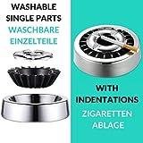 Praknu 3 Aschenbecher Gluttöter Schwarz Rund - Spülmaschinenfest - Rostfrei - Für 21 Zigaretten - 6