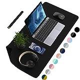 AFRITEE Multifunktionale Schreibtischunterlage, wasserdicht, aus PU-Leder, doppelseitig, Schreibunterlage für Büro/Zuhause 90 * 43 cm