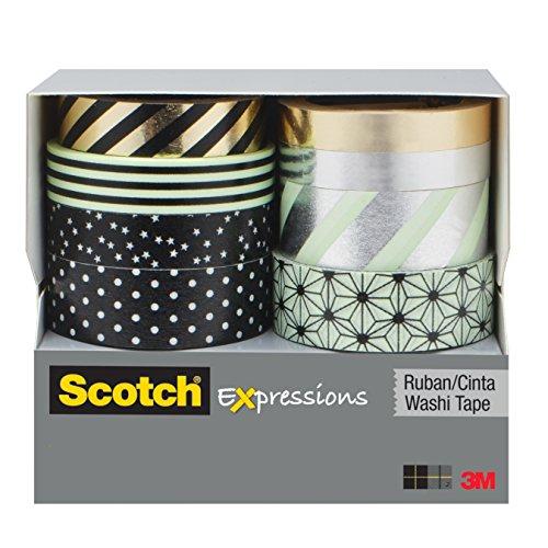 Scotch Expressions Washi Tape Minze, schwarz, metallische Punkte und Streifen, Kollektion 8 Rolls