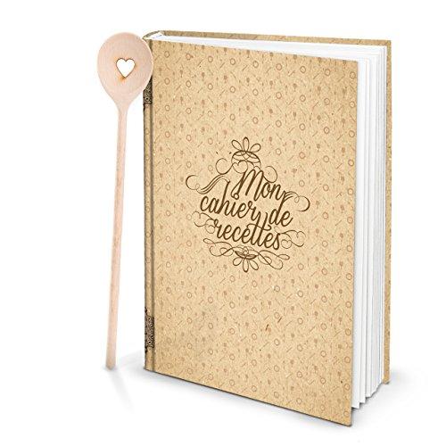 Cadeauset XXL HARDCOVER Frans receptenboek om zelf te schrijven, MON CAHIER DE RECETTES + KOOCHlepel hart eigen recepten mijn kookboek cadeau keuken koken