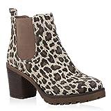 Stiefelparadies Mujer Botina Botines Chelsea 104773 Leopardo 37 Flandell
