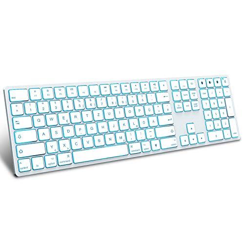 Jelly Comb Beleuchtete Funktastatur mit 3 Bluetooth Kanälen, Kabellose Wireless Fullsize QWERTZ Tastatur für MacBook, iMac, iPad mit 7 farbigen Hintergrundbeleuchtung, Weiß und Silber