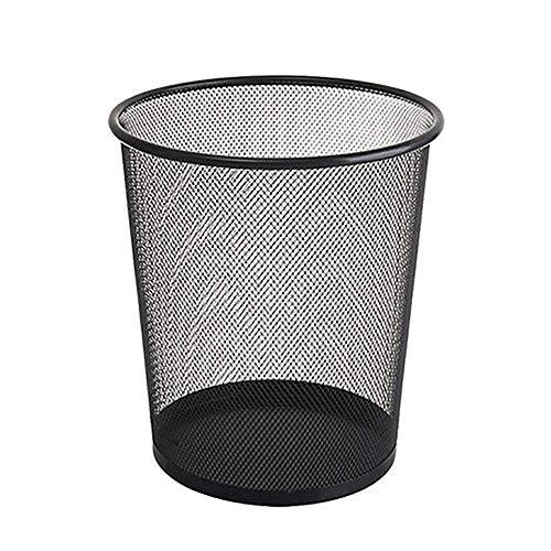 1yess Dauerhafter kreisförmiger Mesh Haushaltshotel Zimmer Büro Abfall Bin-Metall Schwarz Badezimmer Zimmer (Farbe: Metall schwarz, Größe: Kostenlose Größe) (Color : Metal Black, Size : Free Size)