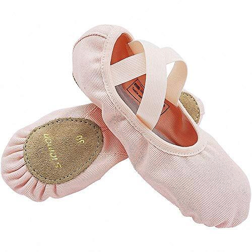 s.lemon Ballettschuhe Kinder,Elastische Leinwand Geteilte Sohle Ballettschläppchen Tanzschuhe für Mädchen Damen Rosa 38EU