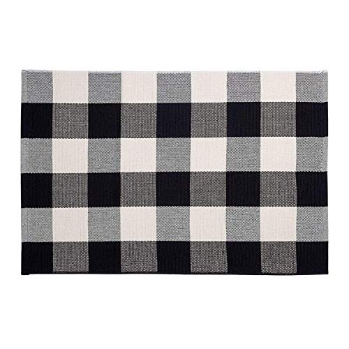 Buffalo Plaid Rug 24 x 36 Inch for Layered Hello Door Mats Washable Black and White Checked Indoor or Outdoor Rugs Carpet for Front Door Entryway