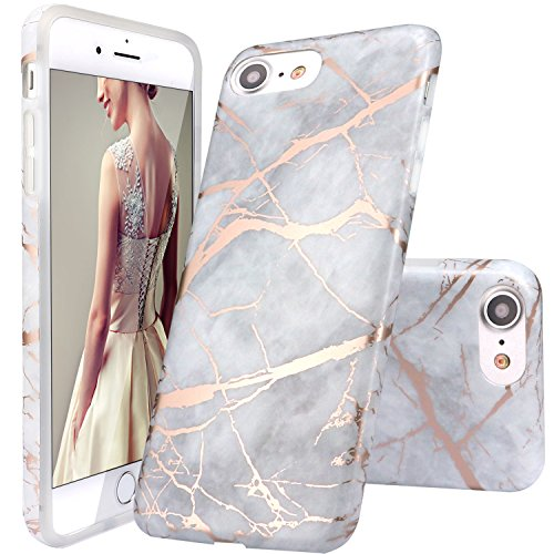 DOUJIAZ Schutzhülle für iPhone 7, iPhone 8, Grau glänzend, Roségold, Marmor, Transparent, TPU, weiche Silikonhülle, für iPhone 7 (2016)/iPhone 8 (2017)