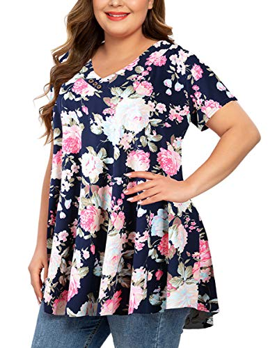 MONNURO Womens Short Sleeve Plus Size Tunic Tops V Neck Button Basic Summer Swing Shirts Blouses for Leggings(Flower02,4X)