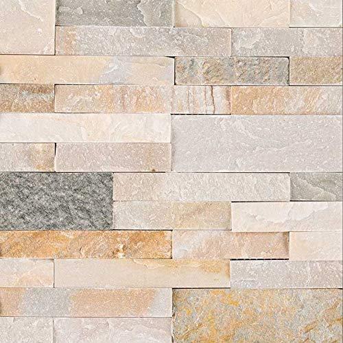 Vogue Peel & Stick Golden Honey Quartzite Stacked Stone 21.75' X 6', Wall Tile, Fireplace Tile, Backsplash Tile, Bathroom Tile, Easy DIY Tile (Box of 15pcs )