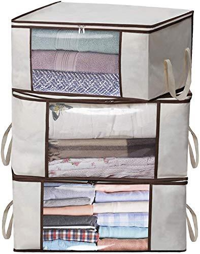 3x PORTAOGGETTI sotto il letto Organizer Scatola portaoggetti di grande capacità con manici, finestra trasparente, coperte, trapunte, biancheria, biancheria da letto
