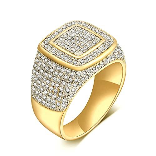 LINYIN Anillo zircón Micro-incrustado bañado en Oro de 2pcs, Anillo de Hombre de Diamantes Completo de Moda, Anillo de Boda Personalizado, Anillo de Pareja 12号 Golden