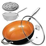 MICHELANGELO Woks antiadherentes con tapa, cesta para freír y rejilla para vapor, sartenes de cerámica para wok de 28 cm, sartén profunda de cobre, compatible con inducción, 28 cm