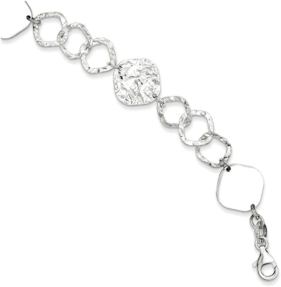 Finejewelers Sterling Silver Polished and Max Year-end gift 68% OFF Link Br Textured Fancy