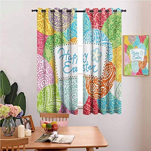 Xldavier Haro Animal Curtain Easter,Hand Drawn Eggs with Ornamental Motifs Colorful Festive Spring Season Holiday Design,Multicolor Pocket Thermal Insulated Tie Up Curtain 42'x54'