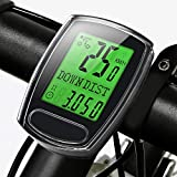 IPSXP Bike Computer, Wired Bicycle Speedometer and Odometer Waterproof Cycle Computer with Backlight LCD Display, Automatic Sleep/Wake, Battery Included