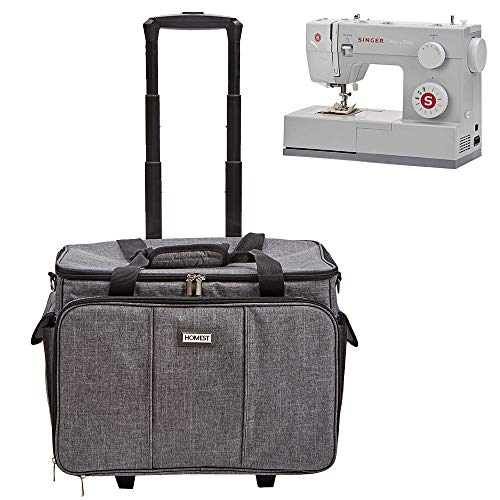 HOMEST Deluxe Sewing Machine Case on Wheels, Rolling Trolley Tote with Shoulder Strap and Strong Carry Handles, Compatible with Singer & Brother Machine, Grey (Patent Design)
