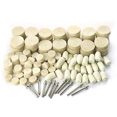 Hamineler 142Pcs Felt Polishing Wheels Polishing Bits Kit, Felt Polishing Pad Buffing Wheels Kit for Rotary Tool