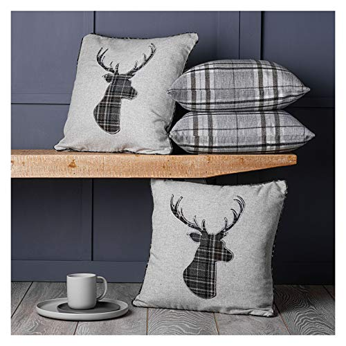 Red Rainbow Set of 4 Tartan Stag & Tartan Check Grey Collection 18 inch / 45cm Cushion Covers