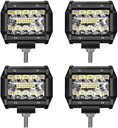 LED Light Bar TURBO SII LED Pods 4 Inch 60W Off Road Driving Lights Triple Row Spot Flood Beam LED Fog Lights Led Work Lights for Jeep Trucks Polaris Boats Pickup UTV ATV,1 Year Warranty,4 Pack