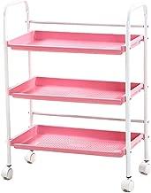 Trolley Cart 3 Shelf Large Beauty Salon Trolley Cart Spa Storage Tray Therapy Dentist Hairdresser Treatments, Pink, 50×35×50cm cxjff