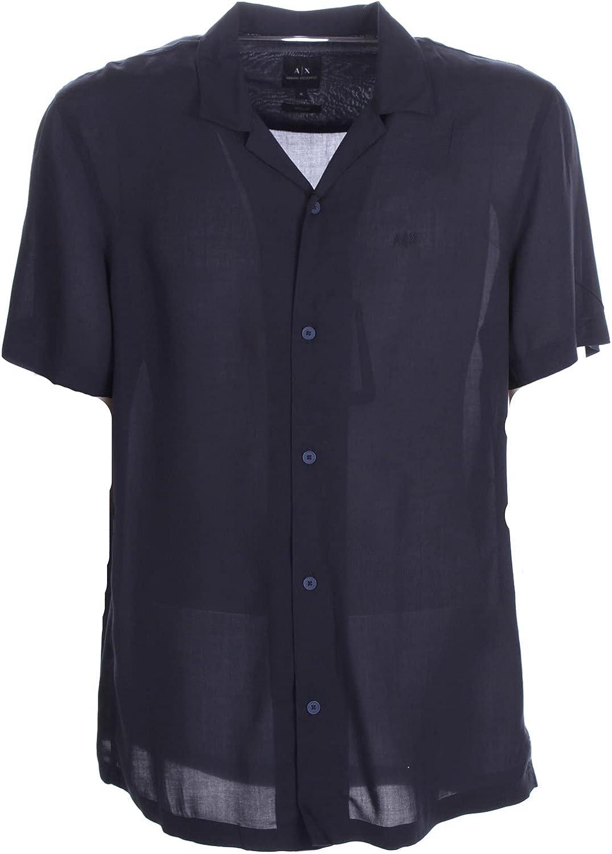 AX Armani Exchange Men's Sustainability Viscose Poplin V-Neck Button Up Short Sleeve Shirt