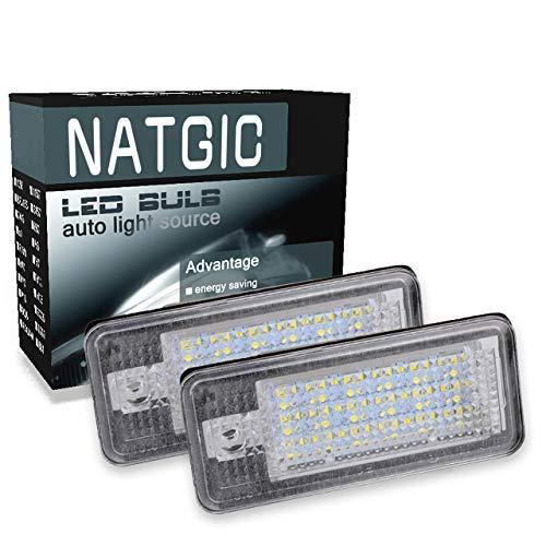 NATGIC 1 Paire d'éclairage de Plaque d'immatriculation à LED 3528 puces 24SMD Ensemble de Lampe de Plaque d'immatriculation à LED étanche pour A3 S3 A4 S4 B6 B7 A6 S6 A8 Q7 12V 3W - 6000K Blanc