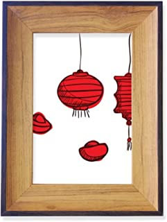 DIYthinker Red Lanterns Chinese Year of The Rooster Photo Frame Desktop Display Picture Art Painting Holder