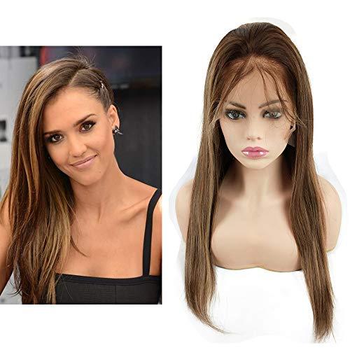 Mila Echthaar Perücke Blond Ombre Highlight Glueless Human Hair Full Lace Wig Glatt 130% Dichte met Baby Hair 16inch/40cm
