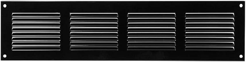 Rejilla de ventilación con protección contra insectos, 400 x 100 mm, color negro