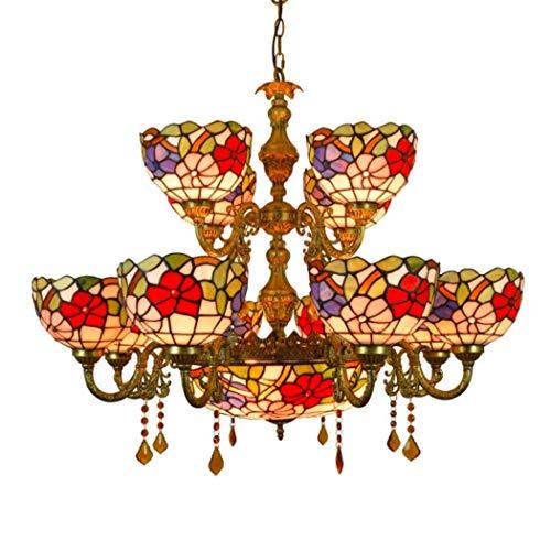 Yjmgrowing Vintage Tiffany stijl glasverf 12 armen kroonluchter met 16 inch Inverted Ceiling hanglamp voor woonkamer slaapkamer hotel hanger lamp,220V, E27,40 W