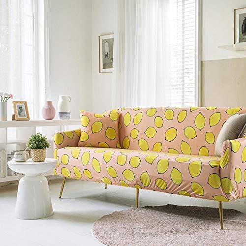 Funda Sofa 1 Plaza Limón Rosa Fundas Sofa Elasticas,Funda de Sofa Chaise Longue,Moderna Cubre Sofa,La Funda para sofá Jacquard de Poliéster,Cubre Sofa(90-140cm)
