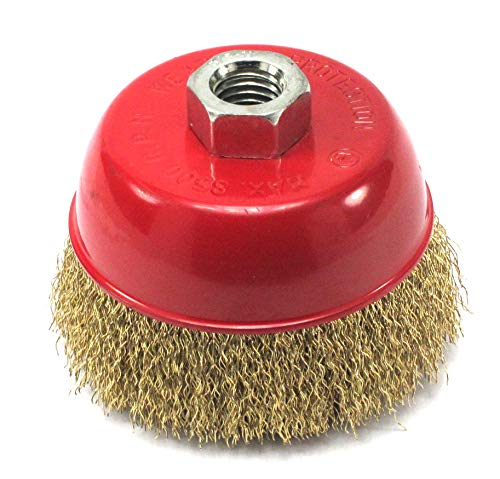 Elitexion 4 inches x 5/8 inch Thread Cup Wire Wheel Brush, Fine Crimped Wire Cup Wheel