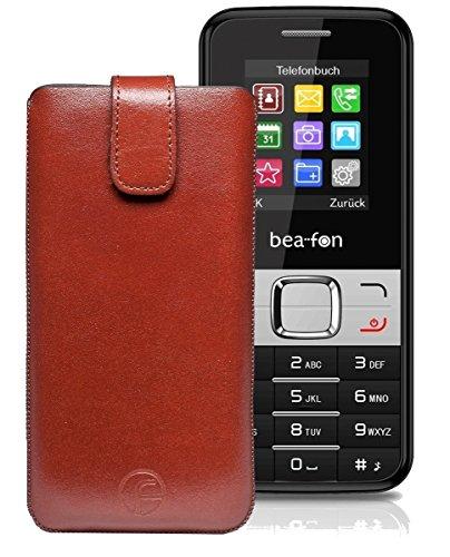 Original Favory Etui Tasche für BEAFON C50 Leder Etui Handytasche Ledertasche Schutzhülle Hülle Hülle Lasche mit Rückzugfunktion* in Braun