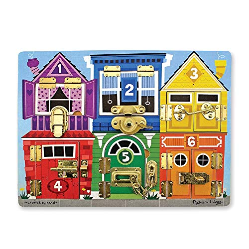 Educational toy idea for your preschooler! Melissa and Doug Latches activity board! This toy is great for fine motor skills.