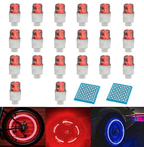 LZYMSZ 20PCS de luz de Válvula de Rueda, Luces de Tapa de Vástago de Válvula de Neumático de Rueda de Flash LED para Coche, Bicicleta, Motocicleta (Red)