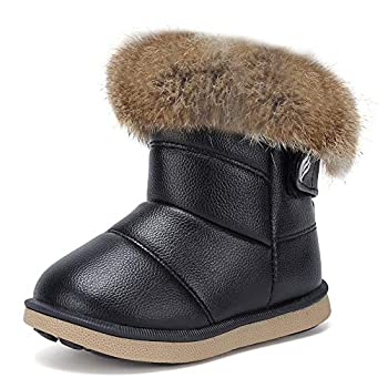 CIOR Toddler Snow Boots for Girls Boys Winter Warm Kids Button Boots Outdoor Shoes TXA-88-Black-23.