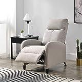[en.casa] poltrona relax in tessuto con schienale reclinabile e poggiapiedi regolabile - marrone