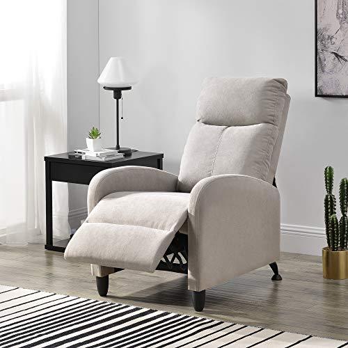 [en.casa] Polstersessel Bregenz Relaxsessel Relaxliege 102x60x92 cm Liegesessel Fernsehsessel Sessel mit Verstellbarer Rückenlehne TV Sessel aus Textil Braun