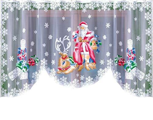 Wis Gardine mit Weihnachtsmann-Motiv, Breite: 31,8 cm, Länge: 150 cm
