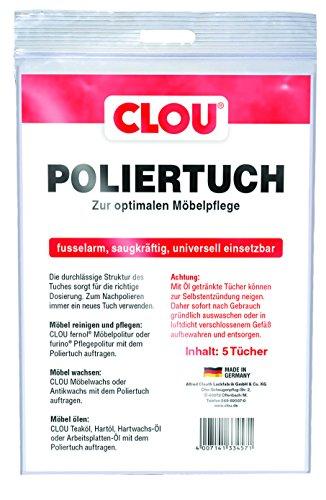 Preisvergleich Produktbild Clou Poliertuch Möbel Poliertuch: Poliertücher zur Möbelpflege,  Fusselfrei und reißfest - fusselarm,  universell einsetzbar - 5er Packung