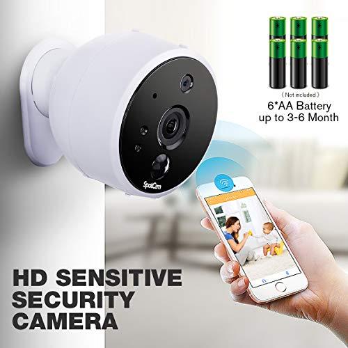 SpotCam Solo WLAN videobewakingscamera, werkt op batterijen, indoor & outdoor, compatibel met Alexa & Google Home, wit