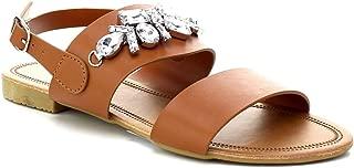 Women's Flat Sandal Sling-Back Ankle Strap Rhinestone Beach Shoes
