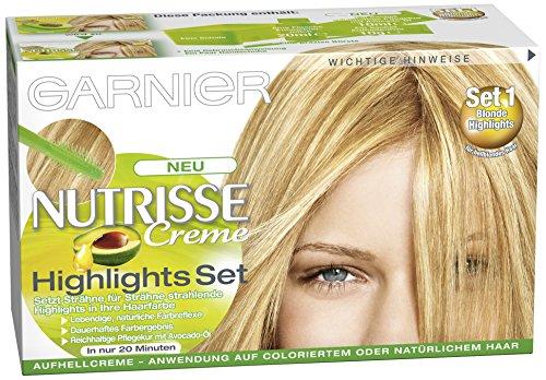 Garnier Nutrisse Creme Highlights Set 1+ für helle Strähnchen / Strähnen Set zum selber machen für blondes oder braunes Haar (mit Avocado-Öl), 3 Stück