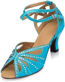 Abby BY-LD025 Womens Latin Tango Shoes Ballroom Dance Party Wedding 6CM Flared Heel Peep-Toe Satin Dance-Shoes
