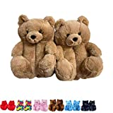 teddy bear slippers - Xiakolaka Women's Plush Teddy Bear Slippers, Fluffy Home Indoor House Slipper Anti-Slip Faux Fur Cute Slippers Soft Warm Winter Shoes Light Brown