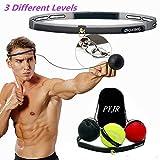 PYJR Reflex Ball, Pelota Boxeo, Mejorar Las Reacciones y la Velocidad, Ideal para Entrenamiento y Fitness, Correas de Silicona Ajustables, 3 Bolas.