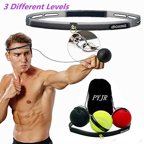 PYJR Reflejo de Boxeo, Ball Fight Ball Reflex, Mejorar Las reacciones y la Velocidad, Ideal para Entrenamiento y Fitness, Correas de Silicona Ajustables, 3 Bolas.