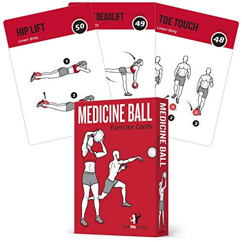 """Medicine Ball Exercise Cards Set of 62  for a High Intensity Home or Gym Workout :: 50 Exercises for All Fitness Levels :: Extra Large 35 x 5"""" Waterproof amp Durable with Diagrams amp Instructions"""