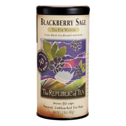 The Republic Of Tea Blackberry Sage Black Tea, Gourmet Black Tea, Blackberry And Sage Blend, 50 Count