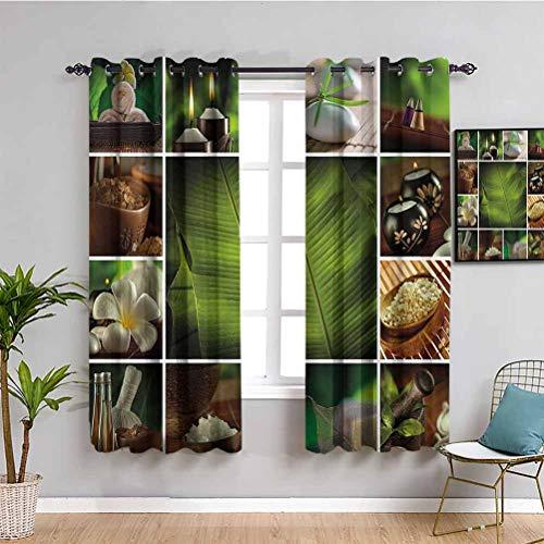 Cortina de ventana negra para decoración de spa Collage de velas con sales de hierbas, toallas y plantas botánicas impresas, mantiene un buen sueño, verde, blanco y marrón, W42 x L63 pulgadas